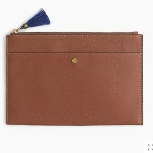 NWT J.Crew Signet large pouch/clutch 100% leather